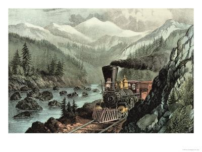 The Route to California. Truckee River, Sierra Nevada. Central Pacific Railway, 1871