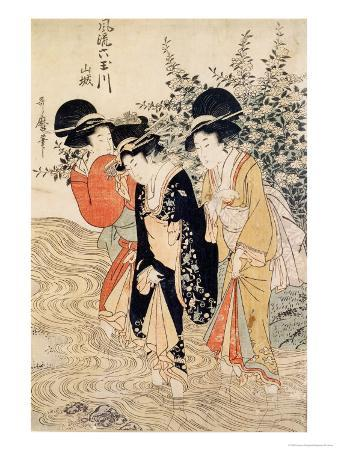 Three Girls Paddling in a River, Fashionable Six Jewelled Rivers, Yamashiro Province, Pub. 1790