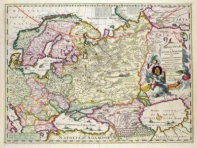 Map of Asia Minor: Norway, Sweden, Denmark, Lapland, Poland, Turkey, Russia and Moscow, c.1626