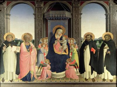 Virgin and Child Enthroned, Angels and St. Aquinas, St. Barnabas, St. Dominic and St. Peter, c.1422