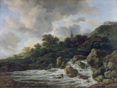 Waterfall Near a Village, c.1665-70
