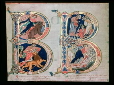 Initial Letter B Beatus Vir - Blessed is the Man, from the Winchester Bible, c.1150-80
