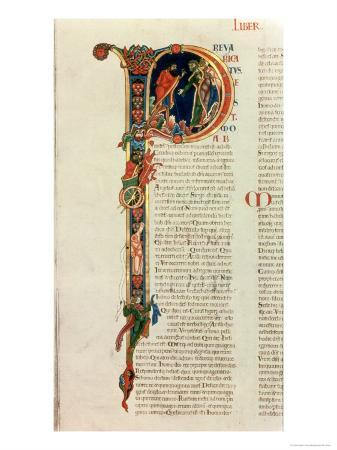 Initial Letter P Prevaricatus Moab, from the Winchester Bible, c.1150-80