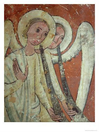Mural from the Tomb of San Pablo de Casserres, Angels with Trumpets from the Last Judgement