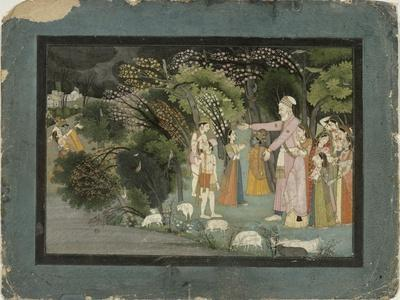 Nanda Asking Radha to Escort Krishna Home, from the Gita Govinda, Garhwal, c.1790