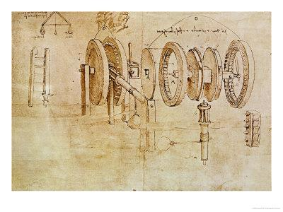 Studies of Toothed Gears and For a Hygrometer, Codex Atlanticus, 1478-1518
