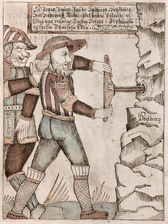 Giant Baugi, Persuaded by Odin, Drills Into His Brother, Suttung's Chamber Where Hydromel is Hidden