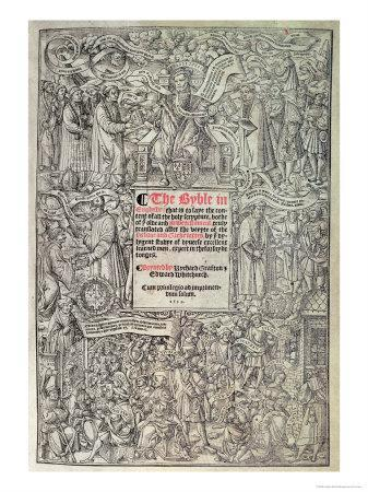 Titlepage of Great Bible, from the Hebrew and Greek Texts, c.1539