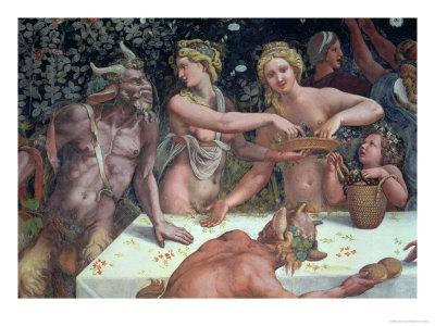 Two Horae Scattering Flowers, Banquet Celebrates Marriage: Cupid and Psyche, c.1528