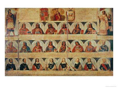 Genealogy of the Inca Rulers and Successors: Manco Capac to Ferdinand VI of Spain, c.1750