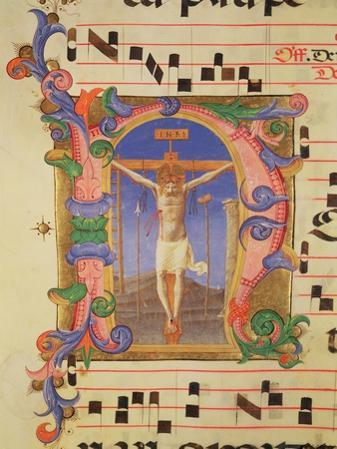 The Crucifixion Depicted in an Historiated Initial 'N', Detail from a Missal, c.1430