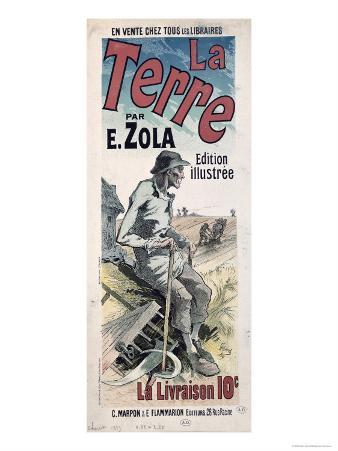 Poster Advertising La Terre by Emile Zola, 1889
