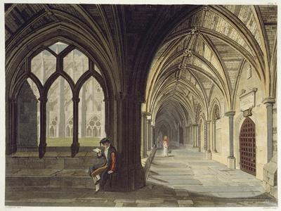 South East Angle of the Cloisters, Plate T from Westminster Abbey, Engraved by J.R. Hamble