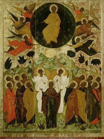 The Ascension of Our Lord, Russian Icon from the Malo-Kirillov Monastery, Novgorod School, 1543