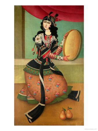 Dancing Girl with a Tambourine, Qajar School
