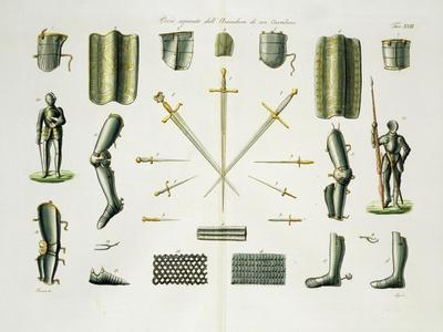 Separate Pieces of a Knight's Armour, Plate 18 The History of the Nations', Engraved by G. Lago
