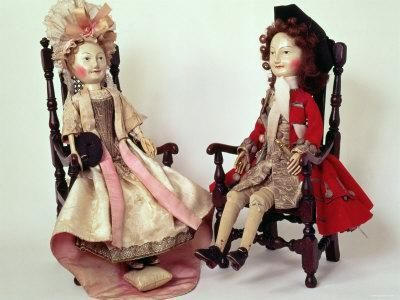 Lord and Lady Clapham, Wooden Dolls Made in the William and Mary Period, 17th Century