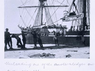 Unloading One of the Motorised Sledges Onto the Sea-Ice, from Scott's Last Expedition