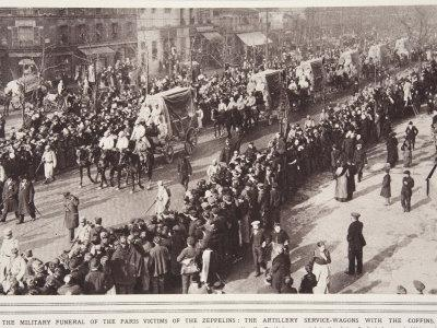 Military Funeral, Paris Victims of Zeppelins, Artillery Service-Wagons