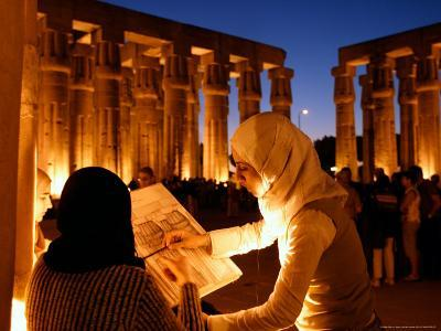 Drawing Classes for Women in the Temple of Thebe Area, Egypt