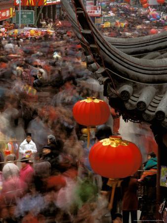 New Years Crowd Winds Beyond the Confucious Temple, Nanjing, Jiangsu Province, China