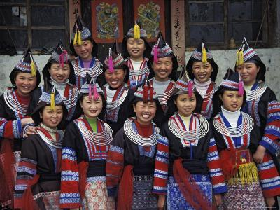 Tip-Top Miao Girls in Traditional Costume, China