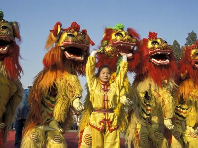 Lion dance performance celebrating Chinese New Year Beijing China - MR