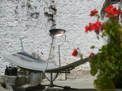 Using Solar Panel to Cook, Sera Temple, Lhasa, Tibet, China