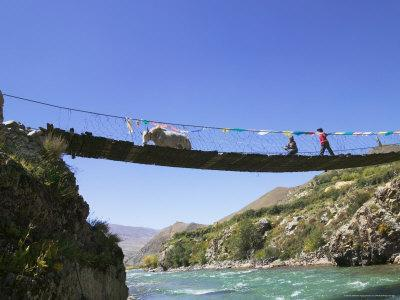 Hanging Bridge Across the River, Shigatse, Tibet, China