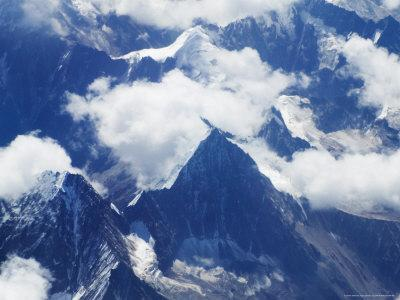 Aerial View of Snow-Capped Peaks on the Tibetan Plateau, Himalayas, Tibet, China