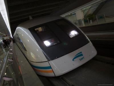 Meglev Train Prepares to Depart Airport Train Station, Shanghai, China