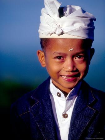 Boy in Formal Dress at Hindu Temple Ceremony, Indonesia