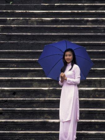 Girl With Umbrella on Stone Steps of Tomb of Khai Dinh, Vietnam