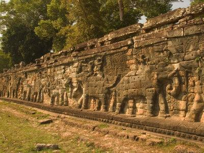 Elephant and Warrior Carvings, Cambodia