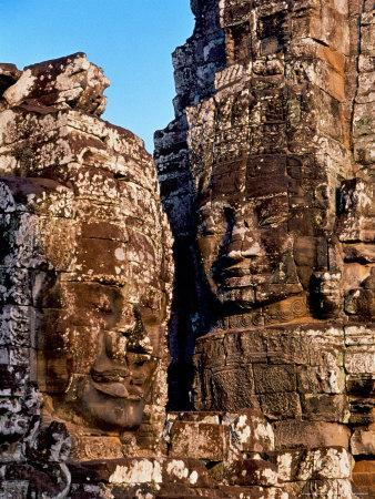 Stone Carvings in Bayon Temple, Angkor Thom near Angkor Wat, Cambodia