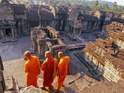 Monks Overlook Angkor Wat, Cambodia