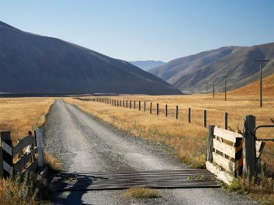 Cattle Stop and Gravel Road, Ahuriri Valley, North Otago, South Island, New Zealand