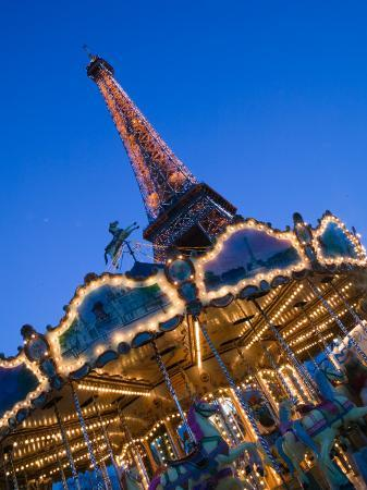 Winter View of the Eiffel Tower and Carousel, Paris, France