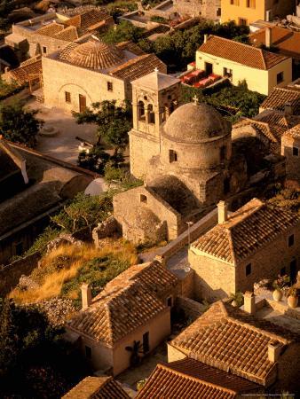 Town View from Cliffs, Monemvasia, Lakonia, Greece