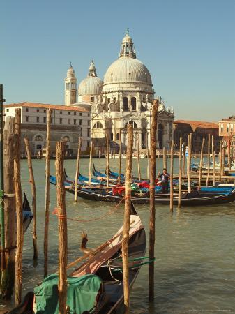 Gondolas near the Grand Canal and the Santa Maria Della Salute, Venice, Italy