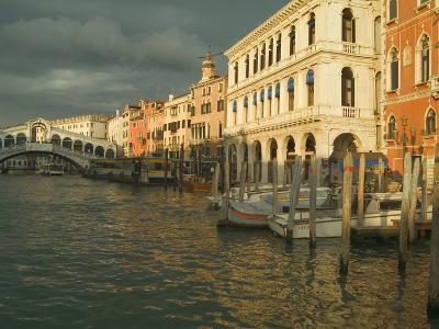 Sunset View of Storm Clouds and Boats on the Grand Canal, Venice, Italy