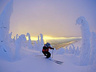 Skier in Snowghosts at Big Mountain Resort in Whitefish, Montana, USA