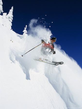 Skier in Powder at Big Mountain Resort, Whitefish, Montana, USA