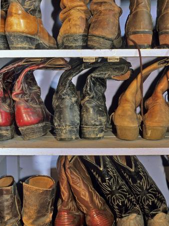 Cowboy Boots at Ranch, Marion, Montana, USA