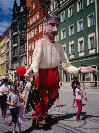 Children Walking Giant Puppet in Parade, Wroclaw, Poland