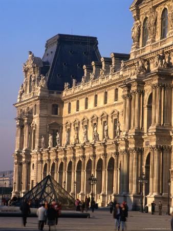 Louvre Museum and Smaller Pyramid, Paris, Ile-De-France, France