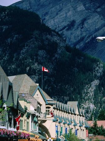 Banff Avenue Buildings and Surrounding Mountainsides, Banff National Park, Alberta, Canada