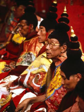 Tibetan Monks During Ceremony, Lhasa, China