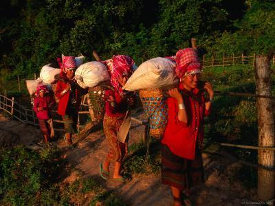 Akha Women Carrying Shopping Home, Muang Sing, Laos