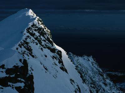 Peak on South End of Lofoten Island and the Ocean, Henningsvaer, Lofoten, Nordland, Norway